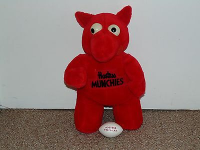 """1980s Hostess Munchies 13"""" Red Plush Sports Doll with Football"""