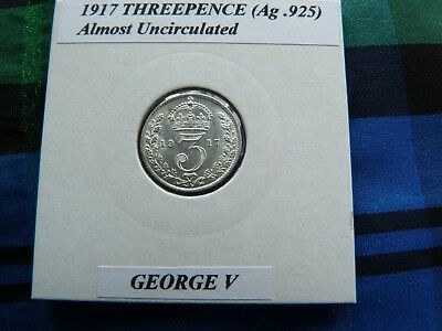 ALMOST UNCIRCULATED? 1917 THREEPENCE  (Silver .925)  George V