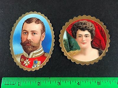 King George V and Queen Mary England UK European Royalty Early 1900's Foil Card