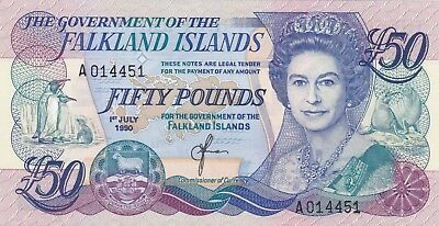 P16a FALKLAND ISLANDS 1990 £50 NOTE IN CRISP MINT CONDITION