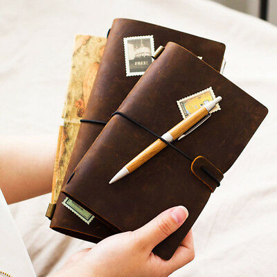 Pirate Painting Genuine Leather Planner Book Blank Notepad Weekly Notebook
