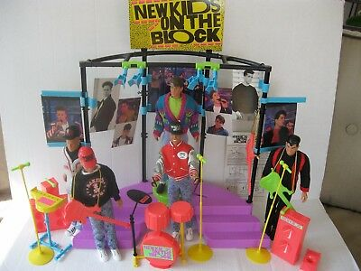 Hasbro New Kids On The Block Stage and Set of 5 Dolls-1990's