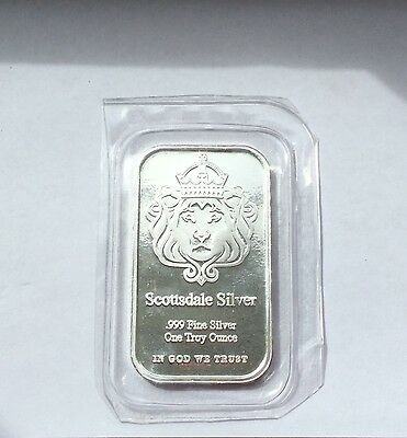 1oz Scottsdale Mint Silver Bar .999 Fine Silver 'The One' design