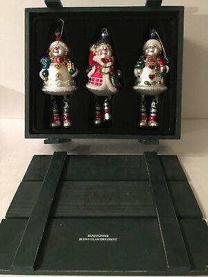 Mikasa Set of 3 Hand Painted Blown Glass Snowman Christmas Ornaments Wood Crate