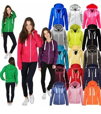 1 New Women Ladies Plain Hoodie Zip Up Hoodie