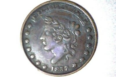 1837 Hard Times Token, Liberty , Not One Cent, Millions for Defense, XF
