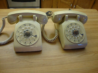 Two Vintage 1980 1981 Almond Northern Telecom Rotary Telephone Made In Canada