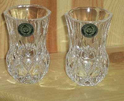 2 Irish Cut Crystal Miniature Vases, 24% Lead, Gift Boxed,ideal Xmas Gift