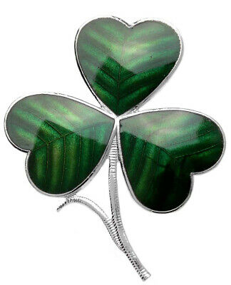 Sea Gems Green Celtic Shamrock Brooch Designed Brooch