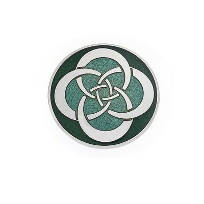 Sea Gems Green Celtic Circle Knot Designed Brooch