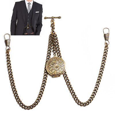 New Bronze Colour Double Albert Pocket Watch Fob Chain With Locket