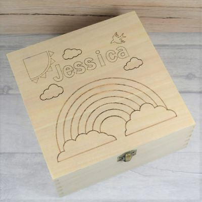 Personalised Keepsake Box, Children's Rainbow 'Colour it in' Engraved Wooden Box