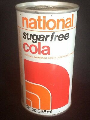 National Sugar-Free Cola Soda Can Steel Push Tab 1970's