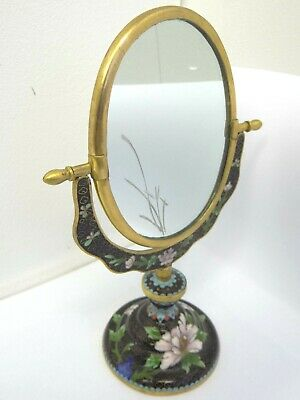 CloisonnÉ Glass Mirror Small Oval Brass Chinese Vanity China Asia Black Fl 68 55 Pic Uk