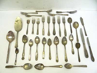 Mixed Antique Vintage Lot Silverplate Spoons Forks Flatware Pie Server Kitchen