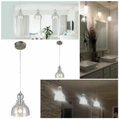 Industrial Pendant Light Fixture Seeded Glass Kitchen Island Brushed Nickel X1