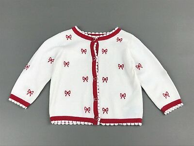 HARTSTRINGS Baby Girl White & Red Embroidered Bow Cardigan Sweater 3-6M