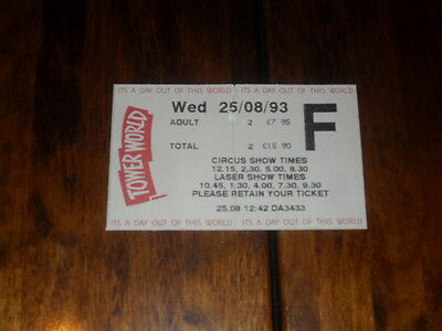 Blackpool Tower World Used Ticket Stub - Wed 25.08.1993 - Circus & Laser Shows.