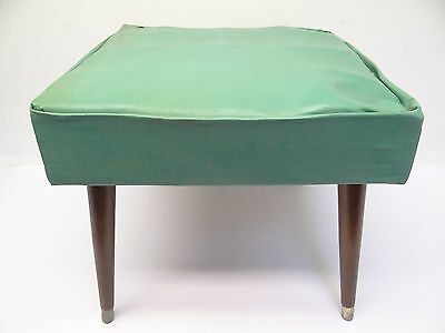 Vintage Used Modern Turquoise Color Wood Leg 1960s Footstool Stool Ottoman