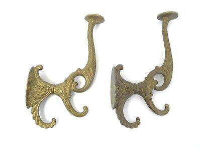 Antique Old Solid Brass Metal Coat Hanger Wall Hook Hardware Part Decorative