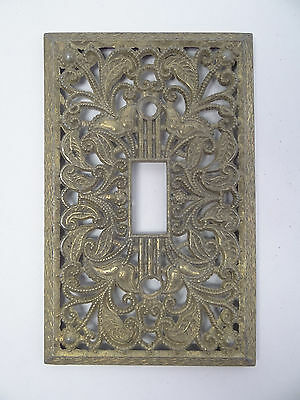 Vintage Aluminum Metal Painted Gold Light Switch Cover Plate Outlet Part Ornate