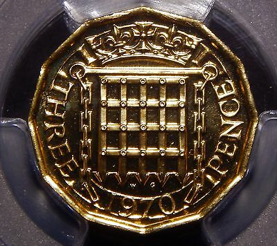 Great Britain 1970 3 Pence PCGS PR66 Last Year Issue Nice Proof Coin!