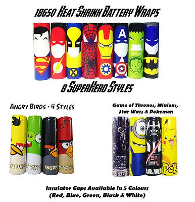 Heat Shrink 18650 Battery Wraps. 16 Styles. Insulator Caps Available - 5 Colours