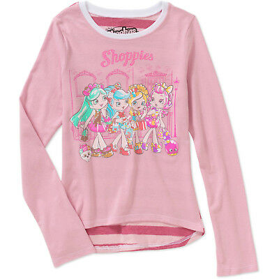 Shopkins Girls' Shoppies Long Sleeve Pink Scoop Neck Graphic Tee Size 4-5 XS