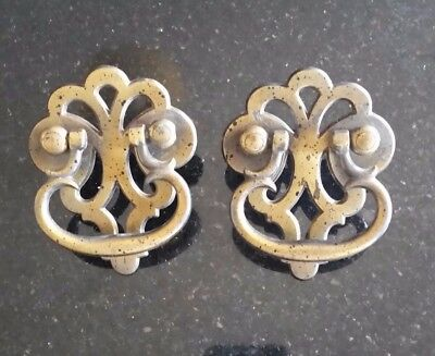 Vintage set of 2 Ornate Heavy Brass DC Handles/Drawer Pulls