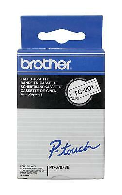 Brother TC-201 Black on White Tape P-Touch Genuine New Sealed Box