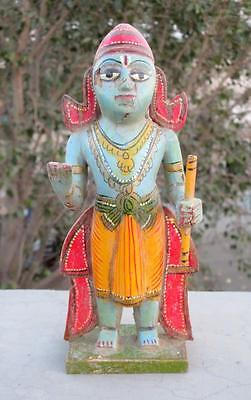 Antique Old Wooden Hand Carved Painted Hindu God Krishna Standing Figure Statue