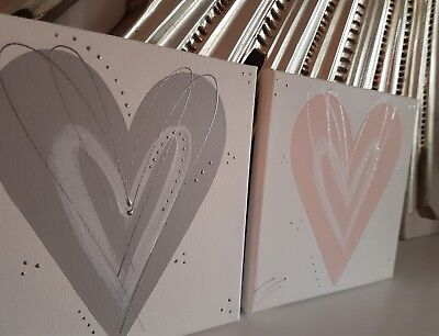 Blush pink grey silver heart on canvas wall art picture bedroom next 5 days hall