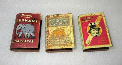 Vintage Old Lot Of 3 Different Cigarettes Ad Litho Print Tin Match Box Cover