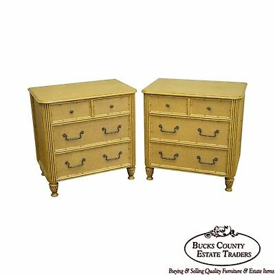 Rattan Pair of Chest Nightstands by David Francis