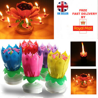 New Birthday Musical Sparkling Candle Lotus Flower Cake Topper Decoration