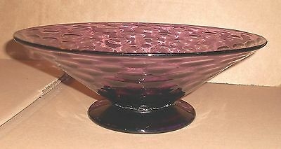 Large Vintage Hand Blown Dimple Design Amethyst Purple Glass Footed Fruit Bowl