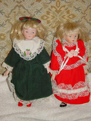 "Friends Till The End of Time Porcelain Miniatures Doll 8"" Tall Set of 2"