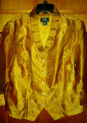 98 Gramercy Plus Sz 16W Copper Button Front Simi Sheer Jacket/shirt 3/4 Sleeves