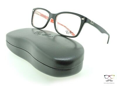 Ray Ban Eyeglasses RB 5228 2479 Black / Red 50mm Rectangular Authentic New