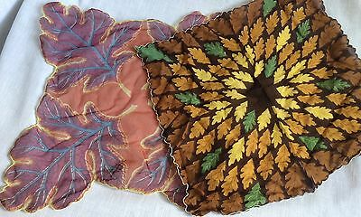 2 Vintage Leaf Pattern Handkerchiefs Hankies