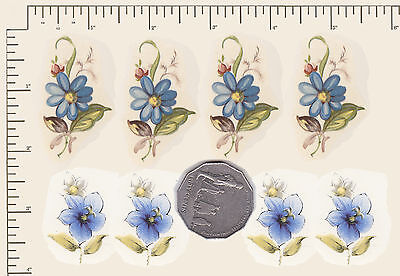 8 x Waterslide ceramic decals Decoupage  Blue floral mix Flowers Daisies PD926