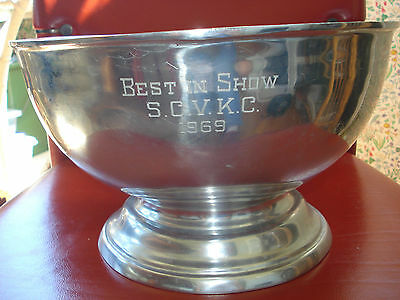 Trophy Bowl Silverplate Kennel Club Large/pedestal By Ambe Numbered