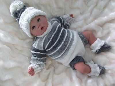 Knitting pattern for baby boy or girls romper set to fit 0-3 month baby/reborn