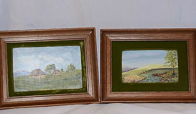 Vintage Pair of Small Framed Paintings  Oil on Board Landscapes Signed by Artist
