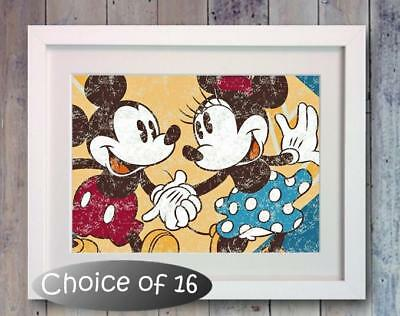 Disney Mickey Mouse Minnie Retro Poster Picture Print Photo Art Gift Bedroom