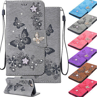 For iPhone Xs Max 8 7 Butterfly Bling Diamond Leather Soft TPU Wallet Case Cover