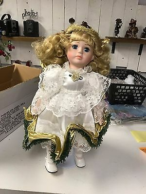 Lillian Vernon blonde porcelain angel doll with stand and box