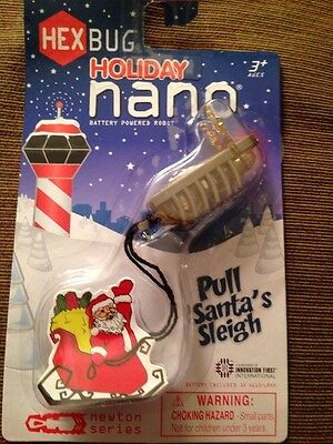 HEXBUG Holiday Nano Reindeer Pull Santa Claus Sleigh Battery Powered Robot NEW