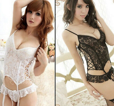 Sexy Lace Corset Style Basque / Babydoll With Suspenders & Thong - (478)