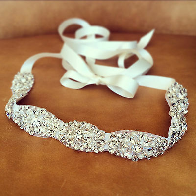 "Wedding Sash Belt - CRYSTAL Pearl Wedding Sash Belt = 20"" LONG"